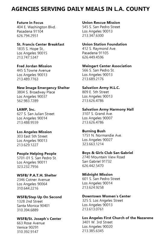 Los Angeles Food Bank Online List